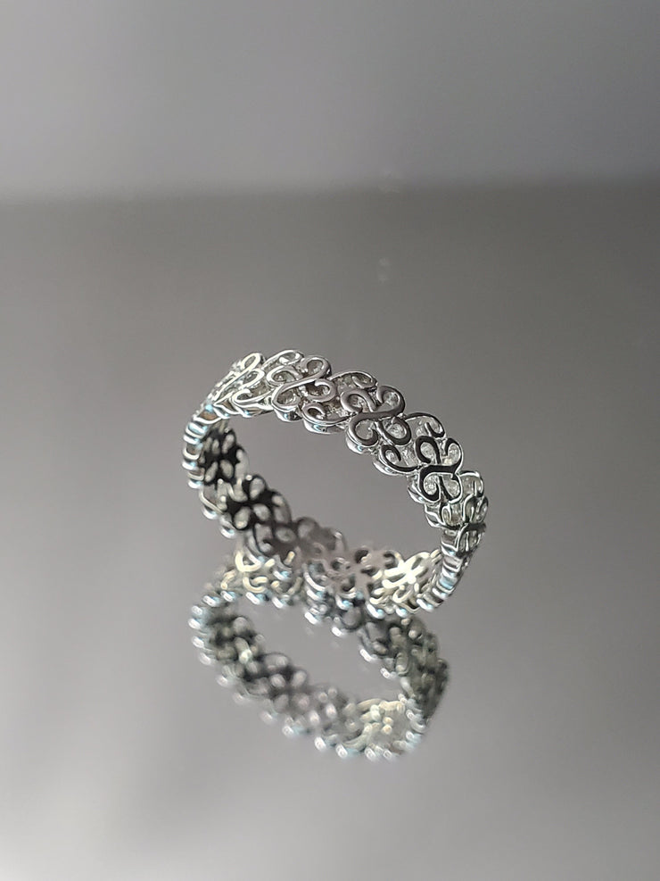 Irish Clover Sterling Silver Wedding Ring Band - Joy of London Jewels