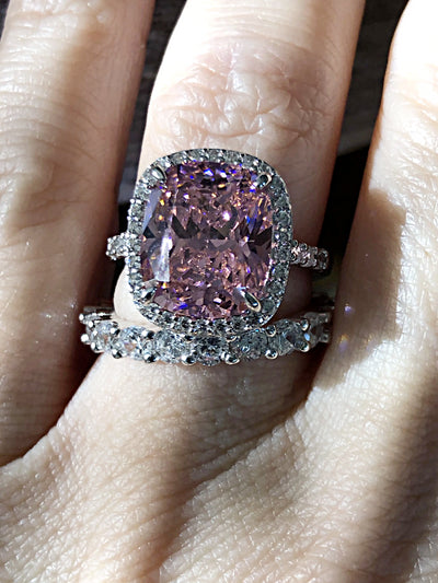 Bespoke Collection, A Flawless Fancy Pink 5.8CT Cushion Cut Belgium Lab Diamond Halo Bridal Set - Rings