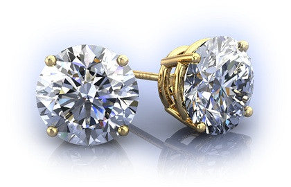 2CT Round Cut Russian Lab Diamond Solitaire 14K Gold Earrings - Joy of London Jewels