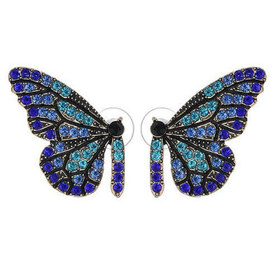 Blue Swarovski & Pearl Butterfly Stud Floral Earrings - Joy of London Jewels
