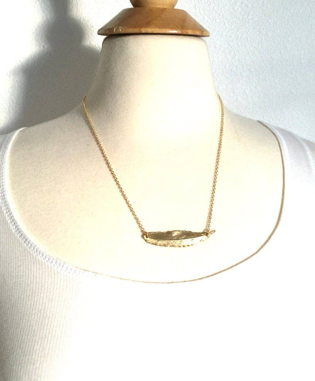 SALE  14K Yellow Gold Feather Pendant Necklace - Joy of London Jewels