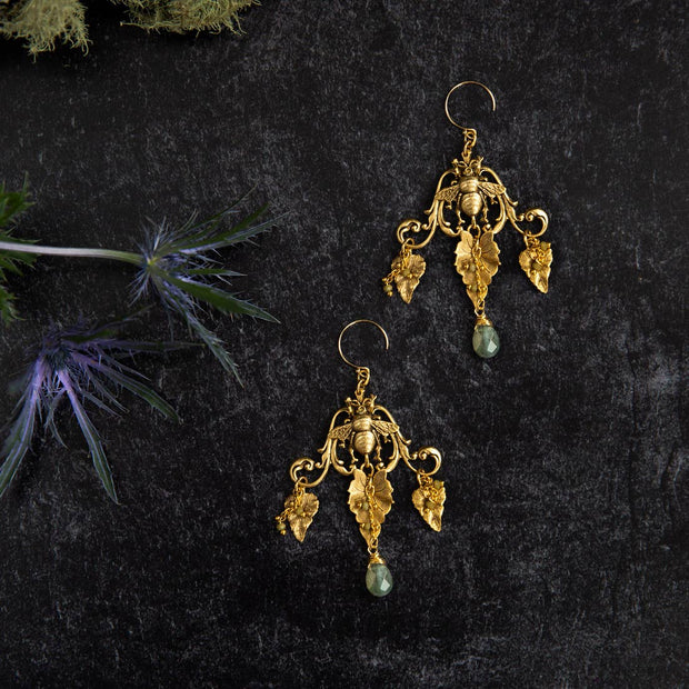 Royal Honey Bee Labradorite Chandelier Earrings - Joy of London Jewels