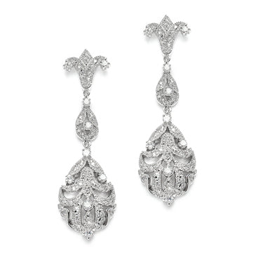 Art Nouveau Platinum AAAA Cubic Zirconia Dangle Earrings - Joy of London Jewels