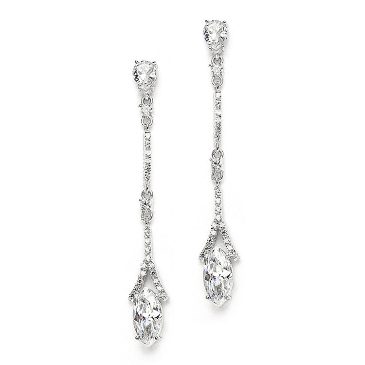 The Grace, A Delicate AAAA Cubic Zirconia Linear Wedding or Bridesmaids Earring Set
