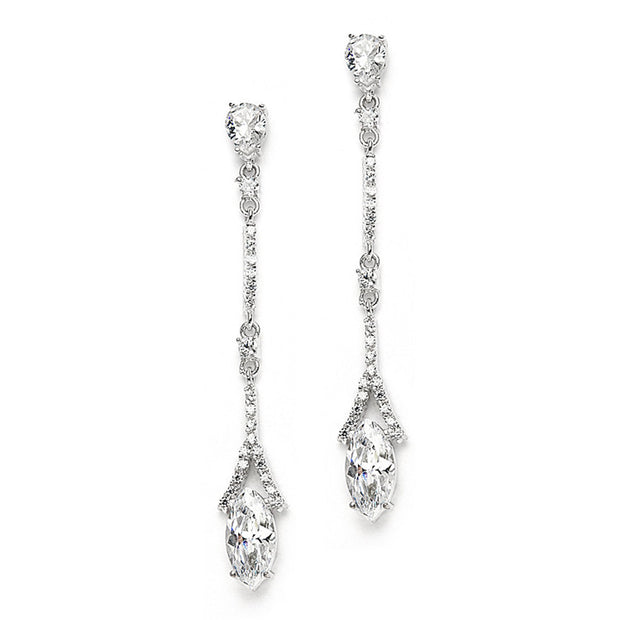 The Grace, A Delicate AAAA Cubic Zirconia Linear Wedding or Bridesmaids Earring Set - Joy of London Jewels
