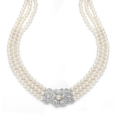 Triple Strand Pearl and Cubic Zirconia Necklace