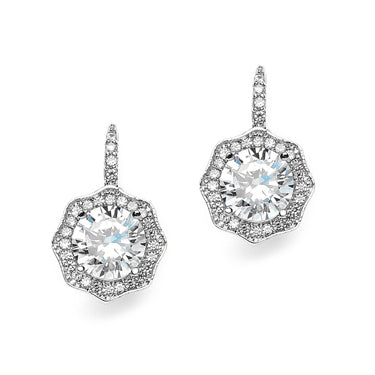 Art Deco 3.2CT Round Cut Hexagonal Halo Dangle Cubic Zirconia Earrings - Joy of London Jewels