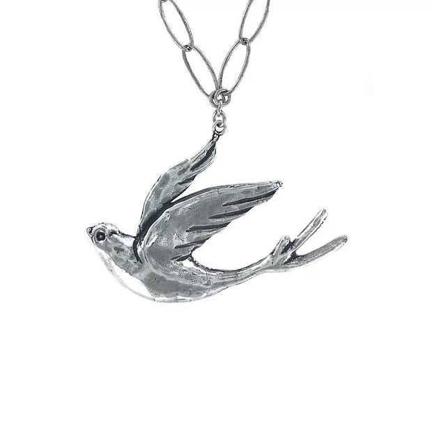 Hand Cast Silver Plated Bronze Peace Dove Necklace