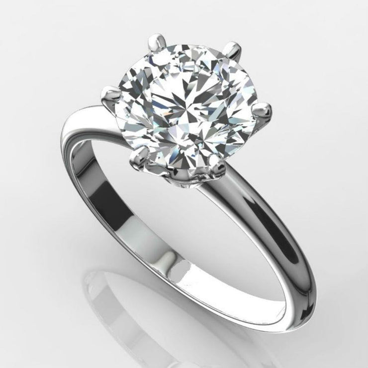 A Dazzling 18K White Gold 2.9CT Round Brilliant Cut Lab Grown Moissanite Ring - Joy of London Jewels