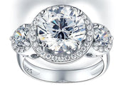 A Flawless 4CT Brilliant Round Cut Three Stone Belgium Lab Diamond Engagement Ring - Joy of London Jewels