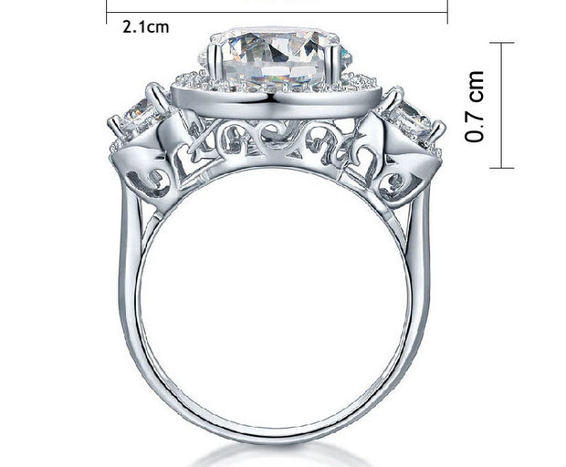 A Flawless 4.5TCW Brilliant Round Cut Three Stone Belgium Lab Diamond Engagement Ring