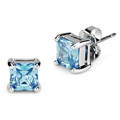 SALE  1.5CT Princess Cut Blue Sky Aquamarine Stud Earrings - Joy of London Jewels