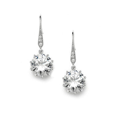 Vintage AAA 8CT CZ Dangle Earrings