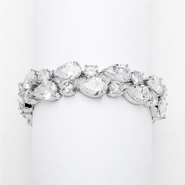 Heirloom Quality Pear Round Cut Cubic Zirconia Bracelet