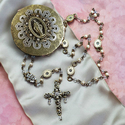 Swarovski Pearl Our Lady of Miracles Rosary Necklace & Keepsake Box - Joy of London Jewels