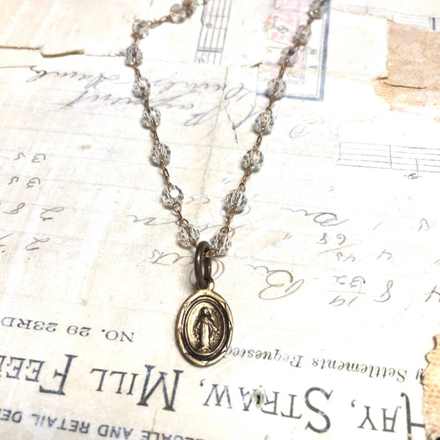 Virgin Mary Necklace Dainty Crystal Miraculous Mary Necklace