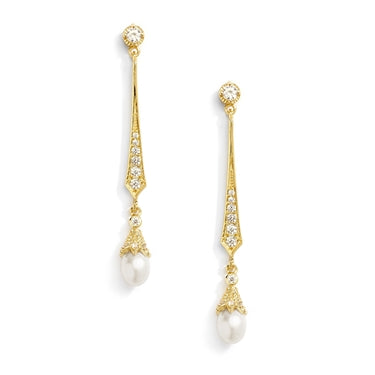 Vintage 14K Yellow, Rose Gold & Platium Cubic Zirconia Dangle Earrings with Freshwater Pearls