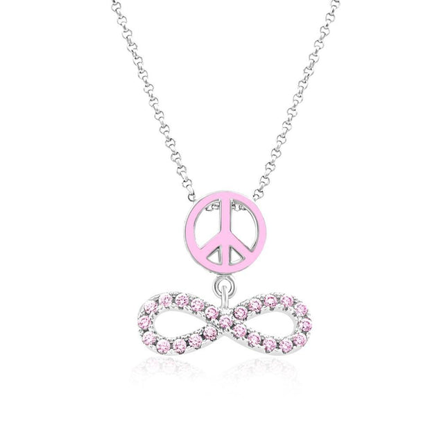Swavorski Pink Enamel Peace And Infinity Pendent