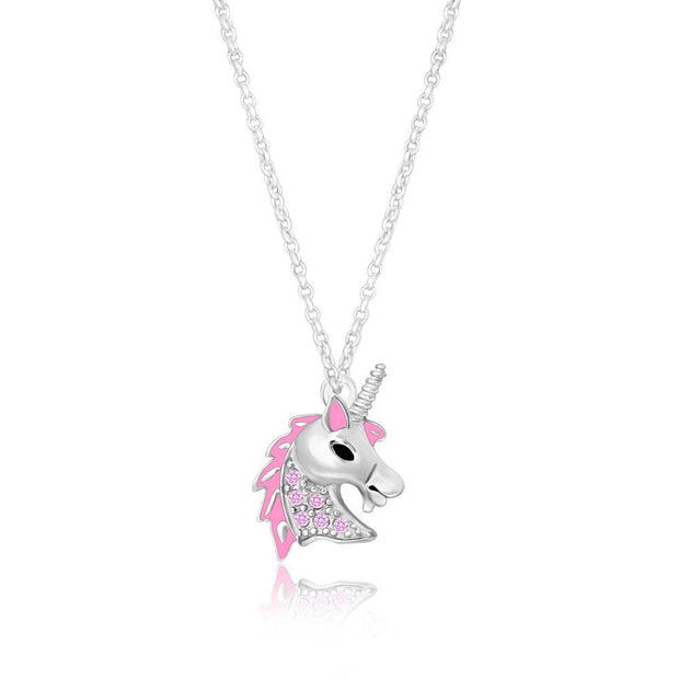 Swavorski Pink Enamel Unicorn Head Pendent - Joy of London Jewels