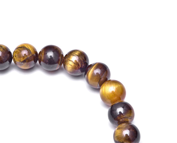 Tiger Eye Elephant Charm Stretch Bracelet