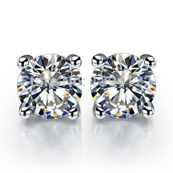 4CT Round Cut Russian Lab Diamond Solitaire Stud Earrings - Joy of London Jewels