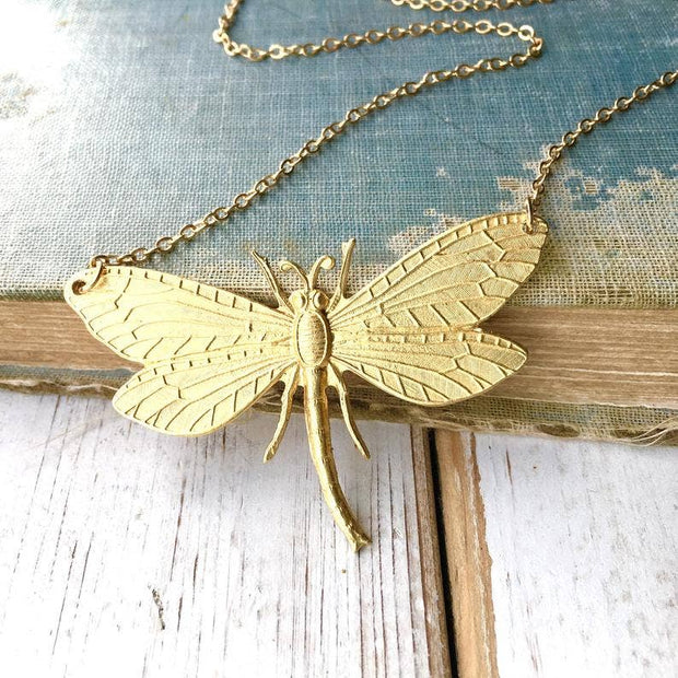 SALE  Handmade Gold Dragonfly Garden Necklace - Joy of London Jewels
