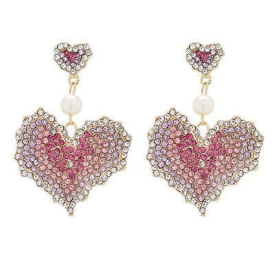 Pink Swarovski Heart Drop Earrings