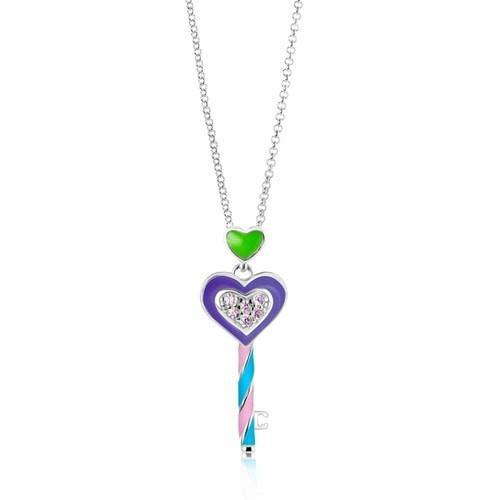Swavorski Enamel And Crystal Key Pendent - Joy of London Jewels