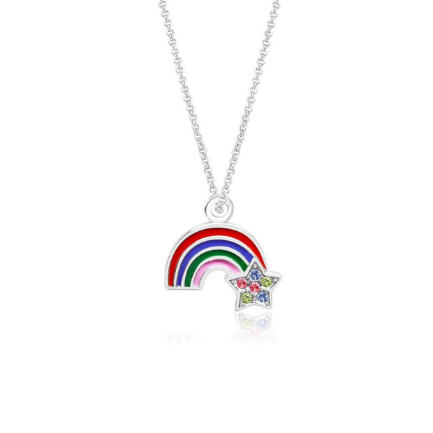 Swavorski Enamel Rainbow And Star Pendent