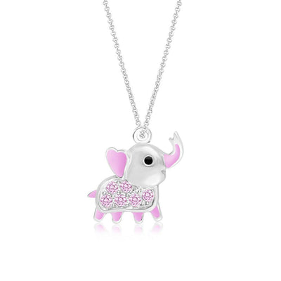 Swavorski Crystal Pink Enamel Elephant Pendent - Joy of London Jewels