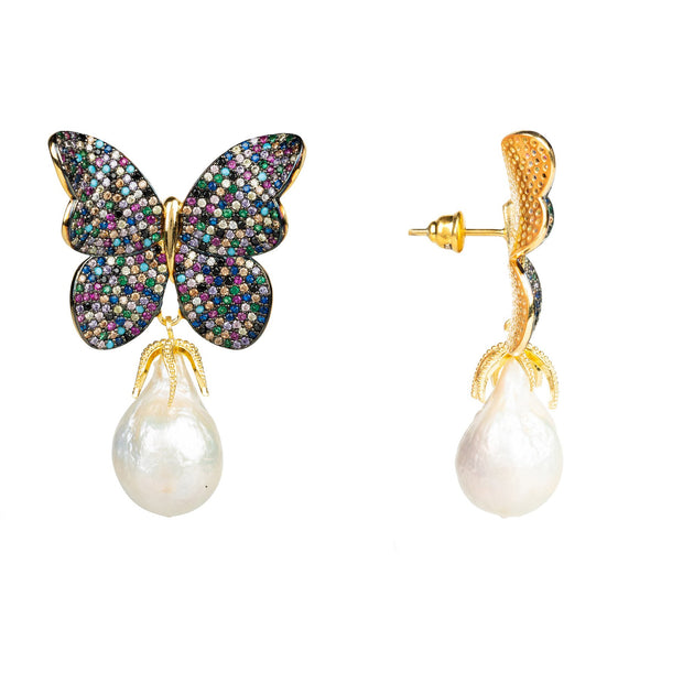 Handmade Multi Butterfly & Natural Baroque Pearl Earrings