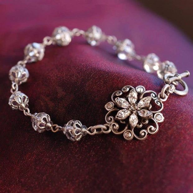 Magical Czech Crystal Floral Bridal Bracelet - Joy of London Jewels