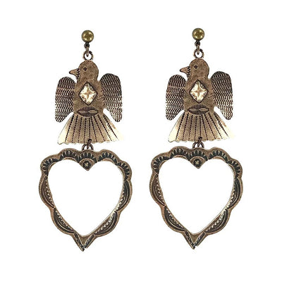 Handmade Bronze Heart Earrings
