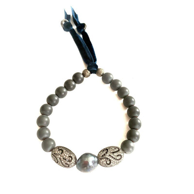 Vintage Black Tahitian Pearls Blue Velvet & Hematite Bracelet - Joy of London Jewels