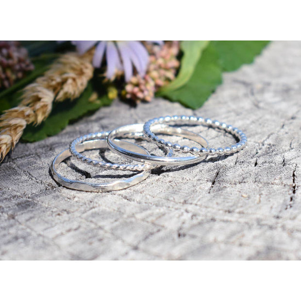 Sterling Silver or 14K Yellow Gold Boho Basic Four Ring Stacking Set - Joy of London Jewels