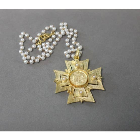 18K Yellow Gold Matte Natural Pearl Maltese Cross Necklace - Joy of London Jewels