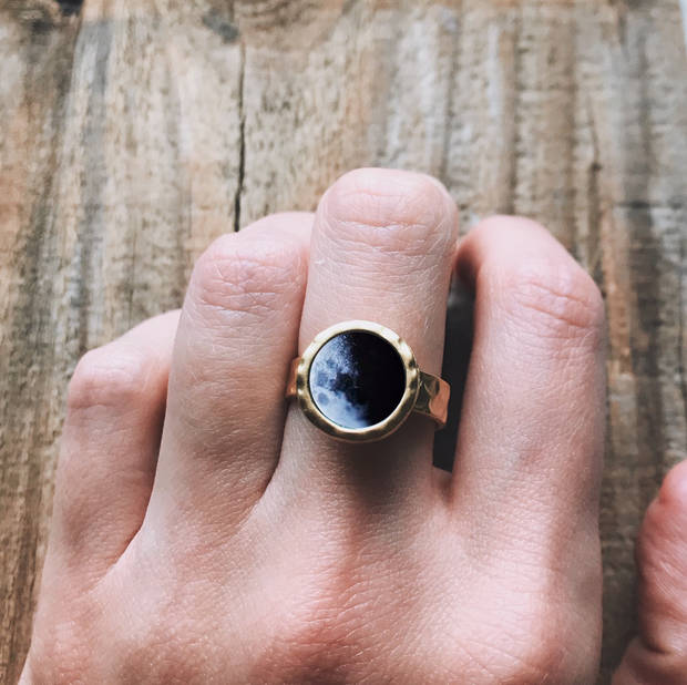 Hammered Adjustable Birth Moon Ring