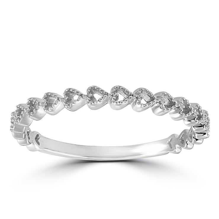 14K White Gold Heart Shape Stackable Diamond Wedding Band - Joy of London Jewels