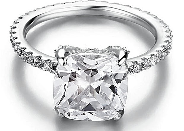 A Flawless 5CT Cushion Cut Belgium Lab Diamond Engagement Ring