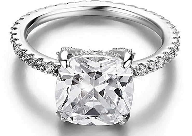 A Flawless 5CT Cushion Cut Belgium Lab Diamond Engagement Ring - Joy of London Jewels