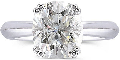 A 10K White Gold 2CT Cushion Cut Moissanite Solitaire Engagement Ring