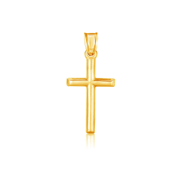 14K Yellow Gold Cross High Polish Pendant Necklace