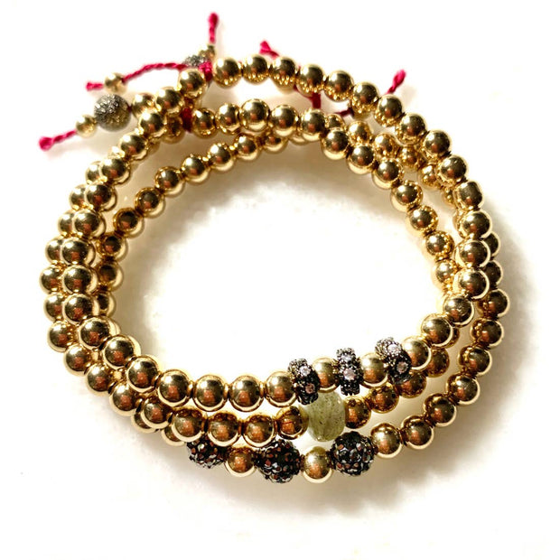 Three Lucky Japanese Red Thread Gold Labradorite Bracelets
