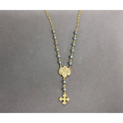 18K Yellow Gold Matte Gray Rosary Necklace