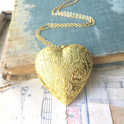 Handmade Vintage Style Golden Brass Heart Floral Locket Necklace