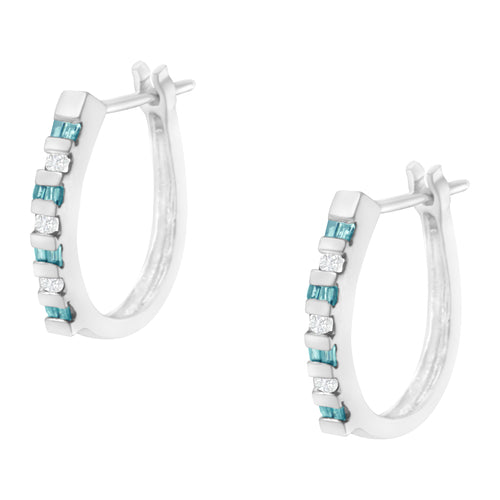 10K White Gold Blue & White Diamond Hoop Earrings - Joy of London Jewels
