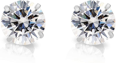 14K White Gold Round Cut Belgium Lab Diamond Studs with Screw Backs - Joy of London Jewels