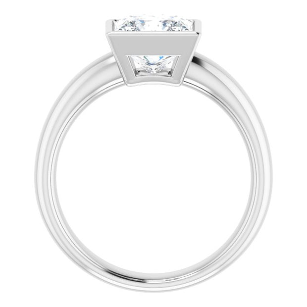 10K White Gold 7mm Square Moissanite Solitaire Engagement Ring - Joy of London Jewels