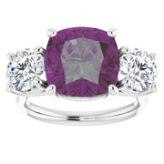 A 4CT Cushion Checkerboard Cut Alexandrite Three Stone Journey Ring - Joy of London Jewels