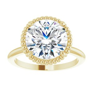 14K Yellow Gold 3CT (9mm) Round Cut Solitaire Moissanite Engagement Ring - Joy of London Jewels